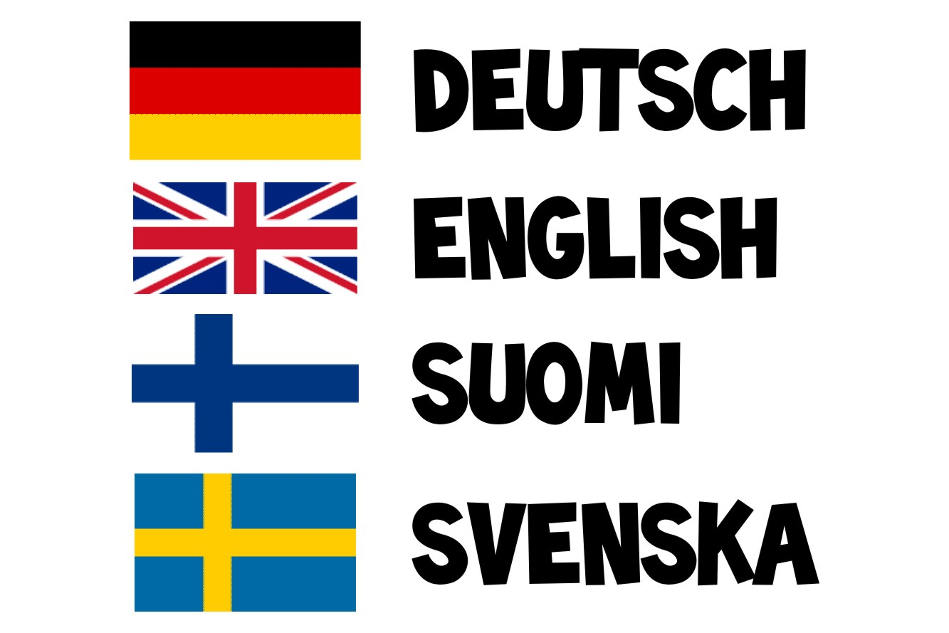 Deutsch, English, Suomi, Svenska